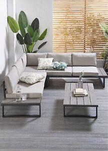 Outdoor Steel Large Corner Sofa 6 Seater Patio Set Garden Furniture Dining Set