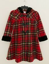 BONNIE JEAN Girl Coat 8 Red Plaid Hooded Faux Fur Trim Toggle Button
