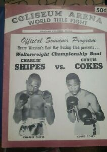 Vintage Official Oakland Coliseum Boxing Program: Charley Shipes Curtis Cokes.