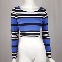 Express Crop Top Womens Size XS Striped Long Sleeve Blue Black White New NWOT
