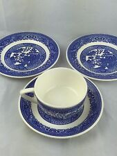 Blue Willow cup saucer bread plate 4 pc lot of blue willow porcelain china