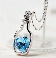 Heart Pendant Bottle Crystal Chain Necklace 925 Silver Valentines Day Sky Blue