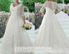 Custom Plus V-Neck Half Sleeves Bridal Gown Wedding Dress 14-16-18-20-22-24++