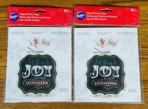 LOT OF 30 WILTON SHAPED PARTY BAGS 15 pcs 2 Packs JOY IN YOUR GOODIES CHRISTMAS
