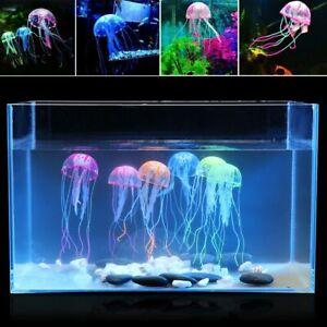 Glowing Jellyfish Fish Tank Decor Aquarium Ornament Fluorescent Marine Animals