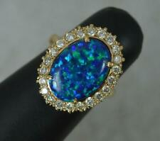 Superb 14ct Gold Syn Black Opal and 0.5ct Diamond Cluster Ring