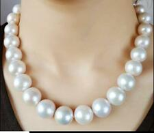 """22"""" 15-12mm AAAA Real Natural South Sea White Round Edison pearl necklace 14K"""
