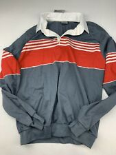 Sek Vtg Nos LeTigre gray and red Striped Pullover Shirt Made Usa
