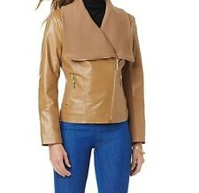 Women's Winter Motocycle 100% Leather short Jacket knit trim Fall Spring plus 2X