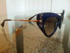 New Miu Miu  SMU 04P 0AX 0A7 SUNGLASSES 49 mm Blue Crystal Cateye Italy