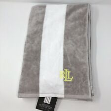 "Lauren Ralph Lauren Beach Towel Sz  36""x 66"" Striped 100% Cotton  Gray White"