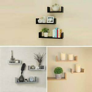Set of 3 U Shape Floating Wall Shelves Storage Display Shelf White Black Grey