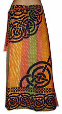LONG celtic print orange green COTTON A-line skirt S M 10 12 hippie beach sarong