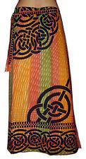 LONG celtic print orange green COTTON A-line skirt S M 10 12 hippie beach sarong