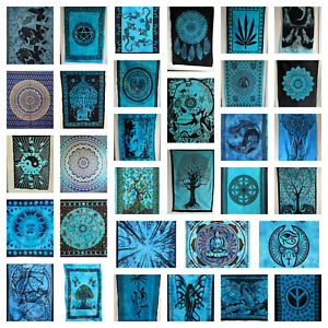 BLUE Wall Hanging Tapestry Cotton Mandala Boho Hippie Wall Art Poster