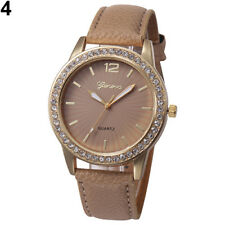 Ladies Fashion Geneva Quartz Gold Tone Rhinestone Brown Leather Band Wrist Watch