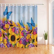 Blue Butterfly Yellow Purple Flower Bathroom Shower Curtain Waterproof / 12 Hook