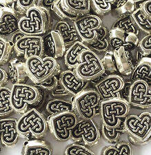 100 PCS Silver plated celtic heart spacer beads