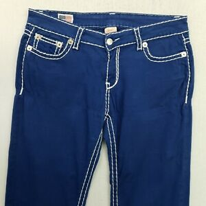 True Religion BROOKLYN Womens STRETCH Jeans Low Rise W32 L31 Blue Straight