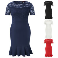 Women's Plus Size Short Sleeve Crew Neck Lace Mermaid Bodycon Fit Flare Dress