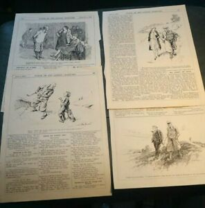 4 Antique Golf / Golfing  cartoons prints from punch ideal for framing (F)