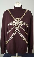 St. John Collection MARIE GRAY Santana Knit TOP BURGUNDY GOLD CHAINS SWEATER S