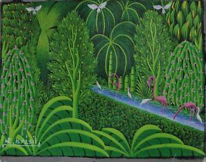 ORIGINAL LITTLE BIJOUX HAITIAN ART PAINTING HENRI ROBERT BRESIL HAITI FLAMINGOS