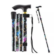 Sparkly Aluminium Folding Walking Stick Floral Ladies Women Man Black Strong New