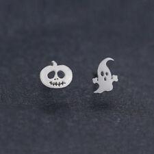 925 Silver Plated Women Kids Ghost Pumpkin Halloween Post Xmas Stud Earrings