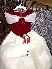 GIRLS 9/10 FORMAL GOWN + BARRETTE FORMAL WEDDING HOLIDAY Burgundy VELVET/Ivory