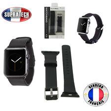 Bracelet Montre Cuir Véritable Noir pour Apple Watch 42 mm Serie 1 et Serie 2