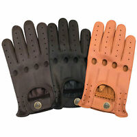 Men's Real Leather Unlined Comfort Quality Chauffeur Retro Style Driving Gloves
