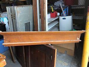 """c1890 vintage oak window door header pediment original varnish 42.5 x 7.5 x 3"""""""