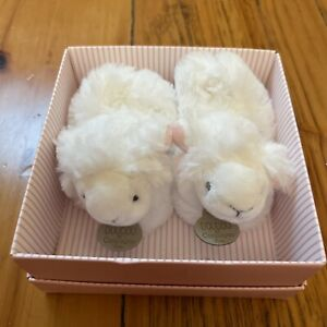 Doudou Et Compagnie ~ Lamb Baby Bootie Slippers White Soft Fur 3mos