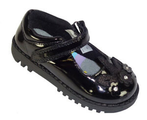 Girls Childrens Black Patent Unicorn Back to School Shoes Sparkly Comfortable