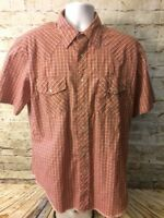 Rustler Mens Red Plaid Long Tails Western Pearl Snap Rodeo Ranch Large [A342]