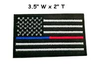 THIN BLUE RED LINE POLICE FIREFIGHTER IRON ON USA FLAG PATCH