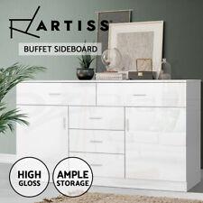 Artiss Buffet Sideboard Cabinet High Gloss Storage Dresser Table Cupboard White