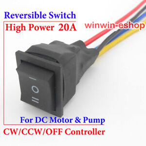 DC Motor Pump CW CCW Reversible Switch 20A Direction Three-way Button Controller