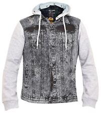 Loyalty & Faith Mens Casual Ripped Denim Hooded Jersey Fleece Sleeves Jackets M Black