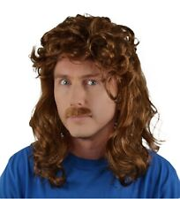 Men's Fancy Dress Brown Mullet Wig & Straight Moustache Set, 80's Movie, Disco