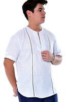 Men Bohio White 100% Pure Linen Embroidered Short Sleeve Shirt (S ~ 2XL)- MLS988