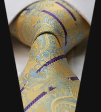 Mens Wedding Tie SALE Yellow & Purple Floral Paisley Design Silk Necktie Gift