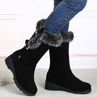 Damen Stiefeletten Winter Snow Boots Warm Gefütterte Kunstfell Stiefel Schuhe