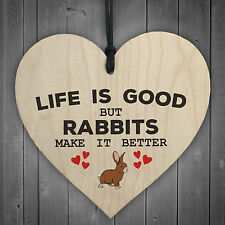Rabbits Make Life Better Wooden Hanging Heart Plaque Pet Rabbit Hutch Sign Decor