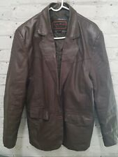 Mens Leather World Brown Button Jacket Size S
