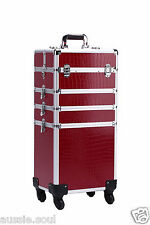 4 in 1 RED Croc, Portable Makeup Cosmetic Beauty Trolley Case, Hairdresser, Nail