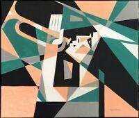 "Expressionist Anatoliy Chudinovskikh ""Musikerin grün"" Acryl Leinwand 60x50 cm"