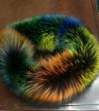 unique luxury warm Fur Scarf Shawl Collar Genuine Fox Fur Multicolor -beautiful