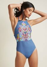 New NANETTE LEPORE Embroidered Boldness Tank One Piece Swimsuit Blue Small